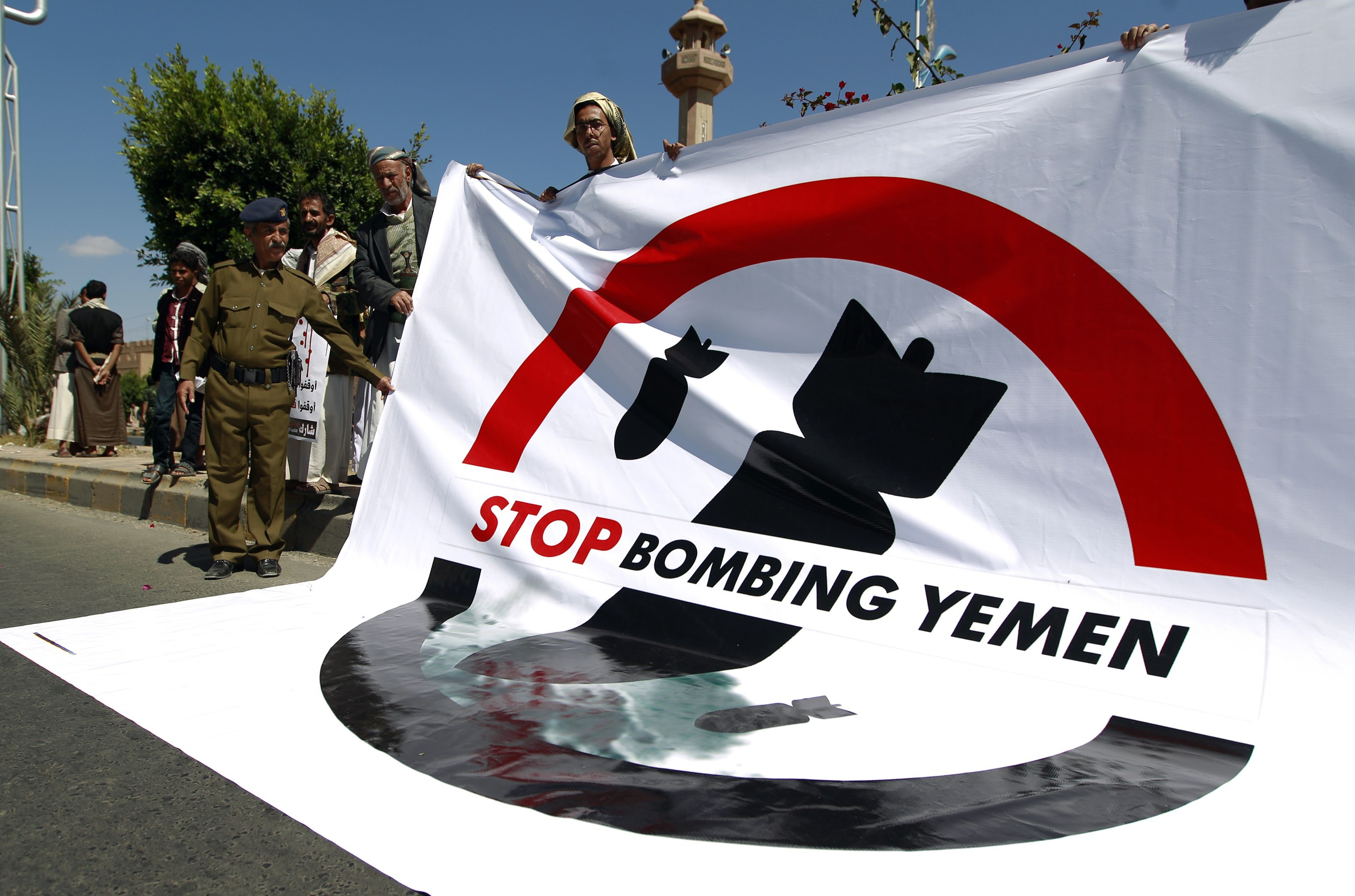Yemenis Rally in Front of UN Office, Urging the World Body to Take Action against Saudi Aggression